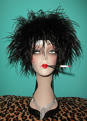 Vintage Ostrich Feather Russian Hat Shapka pinup girl drag 1950 cruella deville