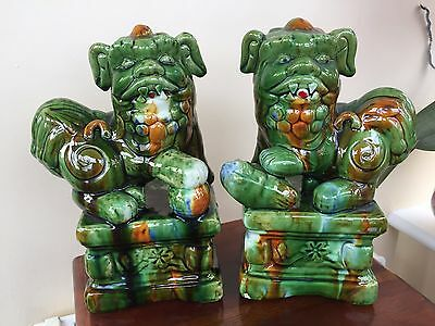 A Pair Of  Vintage Chinese Foo Dogs