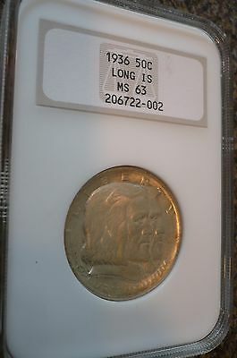 "1936 Long Island Silver Commemorative Half Dollar 50¢ MS 63 NGC In ""Fat Holder"""