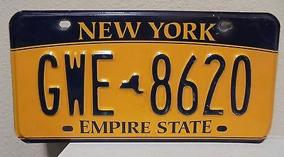 2012 New York  Empire State Gold License Plate Gwe 8620 Used