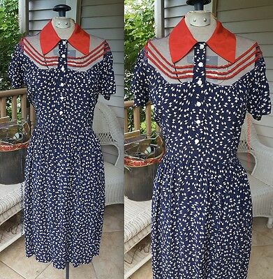All American Girl Pinup Dress 1940s Red White & Blue Vintage 40s