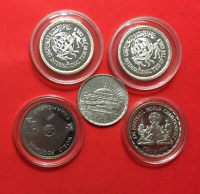 EGYPT- LOT OF 5 EGYPTIAN COINS(4 SILVER PROOF 5P &1 SILVER 25 PT)..high grade.