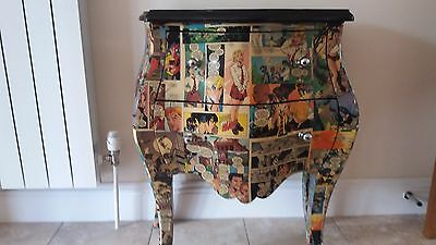 Retro/funky Louis Xv Style Serpentine 2 Draw Set Of Drawers. Collage Covered Wit