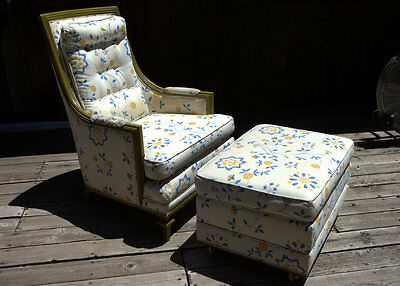 Lounge chair with ottoman hollywood regency vintage mid century for reupholstery