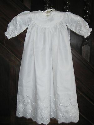 Lovely white vintage christening gown by MER VIL with lovely embroidered detail