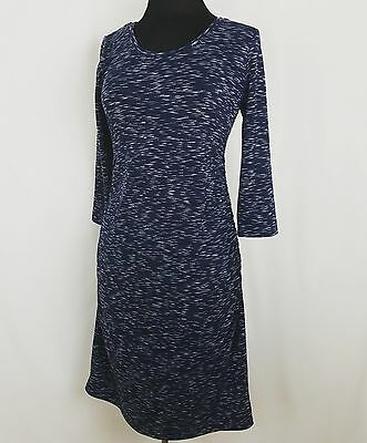 Liz Lange Flattering Fitted Maxi Dress Heathered Blue Size Small Maternity R13