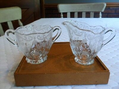 Vintage Etched Floral Glass Creamer and Sugar Bowl  ? Fostoria