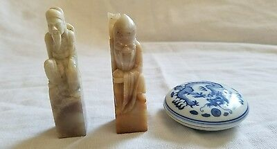 Antique Chinese Old Wise Man Carved Stone Wax Seal Stamp w/ Characters & Letters