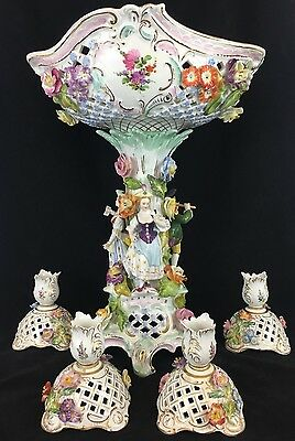 Large Dresden Porcelain Centerpiece with Four Candle Holders