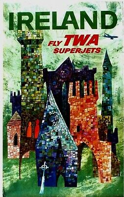 Original vintage poster IRELAND CASTLES & CHURCHES TWA c.1960 Klein