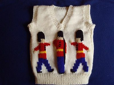 Toy Soldiers Baby Vest New Hand Knitted Size 6-12 Months