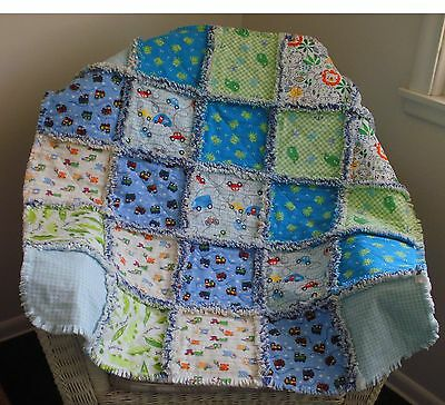 Cute Baby Boys Rag Quilt, Blanket, New, Handmade, trains, cars, whales, frogs