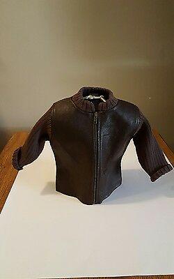 Baby Gap Boys Sweater Jacket Leather 6-12  Months Brown NWT