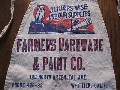 Vintage Advertisement  Apron Farmers Hardware Store & Paint Co. Whittier Calif.