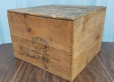 Wooden Antique Boston Rubber Shoe Co. Standard Railroad Container