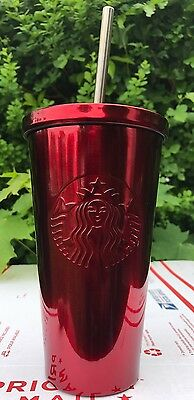 STARBUCKS COLD CUP RED METALLIC STAINLESS STEEL METAL STRAW RARE HTF 16 fl oz