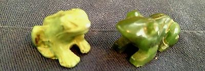 2 Vintage Miniature Frog Figurines, Green, Jade Stone & Meta, Cute