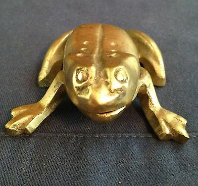 "Vintage Brass Frog Hinged Ashtray Or Trinket Box, 3"" X 2-1/2"""