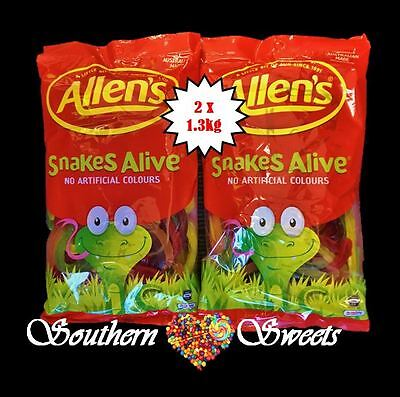 ALLENS SNAKES ALIVE  2 x 1.3KG BULK LOLLIES 2.6KG COLOURFUL LOLLIES