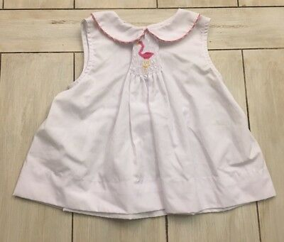 ORIENT EXPRESSED White Pink Yellow Smocked Flamingo Top ~ Size 2T ~