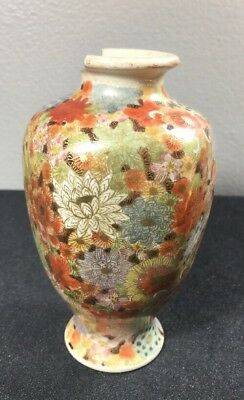 "Antique Satsuma Japanese Style Vase, 5"" Tall, Blank Mark, As-is"