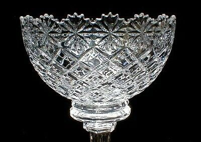Tall Three Seam Mold And Cut Crystal Compote