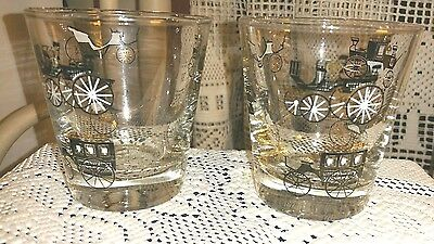 Lot of 2 retro Libbey  Carriage Design Black Gold White Cocktail Glasses