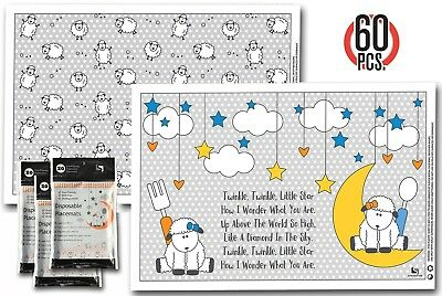 Disposable Placemats Table Topper - 60 Mats for Kids Toddlers Baby Children perf