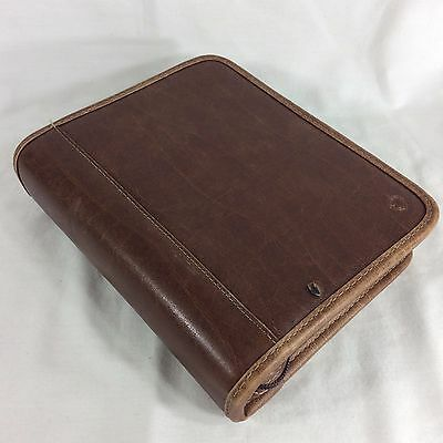 Distressed PVC Compact Franklin Covey Planner Binder Organizer Faux Leather
