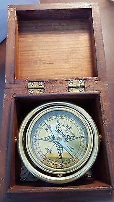 Brass Compass in Wooden Box Hand Made for the planet FATHERS DAY GIFT