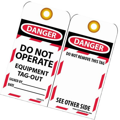 "NMC LOTAG13 Lockout Tag, ""DANGER - DO NOT OPERATE - EQUIPMENT TAG-OUT,"" 6"" Heigh"