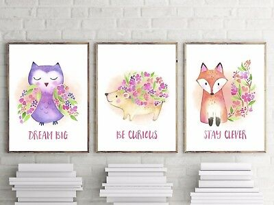 Set of 3 Nursery Bedroom Wall Art Decor Prints | A4 & A3| Baby Girls
