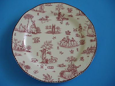 2 Wood & Sons Dinner Plates, TOILLE DE JOILE Pattern, Pink Scalloped; England