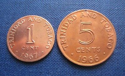TRINIDAD & TOBAGO 1 CENT 1967 (UNC) and 5 CENTS, 1966 (AU) - LOT OF 2 COINS