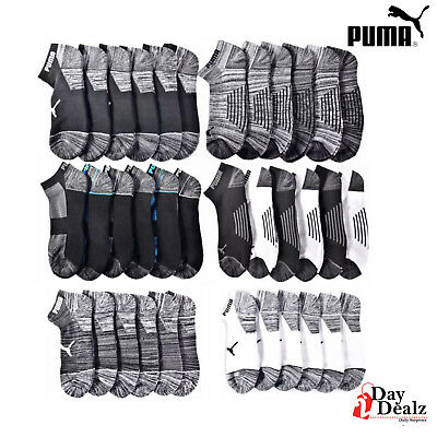Puma Men's Half Terry Cushioned Low Cut Athletic Socks 6 Pairs(Colors Available)