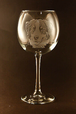 New! Etched Bernese Mountain Dog on Large Elegant Wine Glasses