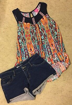 Girls 2 Pc Outfit Set Levi's Jean Shorts PINKY Top XL 16 School