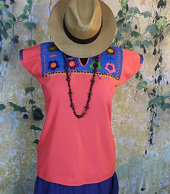 Peach & Multi Color Hand Embroidered Mayan Huipil Chiapas Mexico Hippie Boho