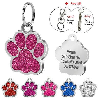 Glitter Personalized Dog Tags Paw Print Shape Dog ID Name Engrave Free Whistle