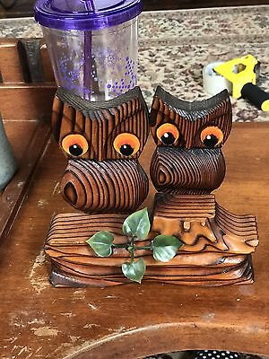 Vintage Green Mountain Handcrafted Wooden Owl Family On Branch Figurine