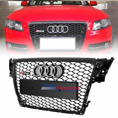 For 09-12 Audi A4 S4 B8 RS4 Front Gloss Black Honeycomb Mesh Bumper Grill