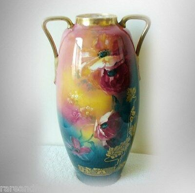 Large Austrian  vase  hand painted flowers and gold decorations - FREE SHIPPING
