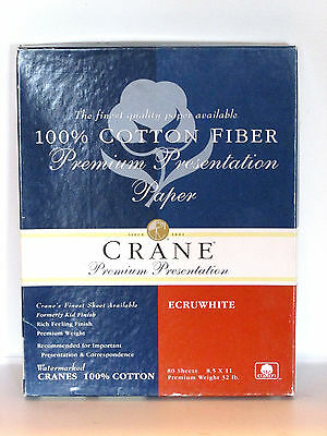 Crane Premium Presentation 100% Cotton Fiber Paper 8.5x11 - 80 Sheets Ecru White