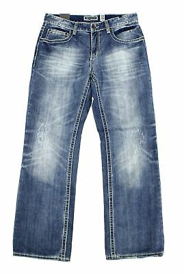 INC NEW Blue Mens Size 32x32 Stretch Relaxed Straight Leg Denim Jeans $49 142