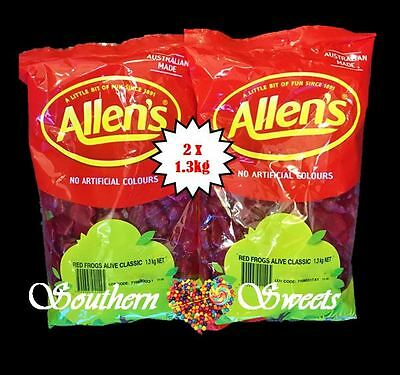 ALLENS RED FROGS  2 x 1.3KG BULK BUY RED LOLLIES FREE POSTAGE