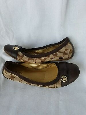 Coach Chelsey Brown Signature Flats Ballet Slip On Womens Shoes Size 8B