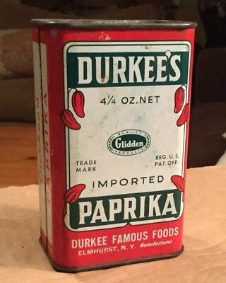 Vintage Advertising DURKEE'S FAMOUS FOODS PAPRIKA Spice Tin FULL Elmhurst NY