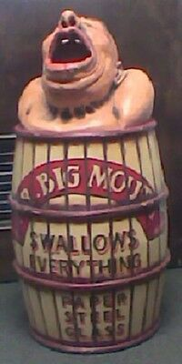 Mr Big Mouth Carnival Amusement Park Bean Bag Toss game / Trash Can, 1940-1950s?
