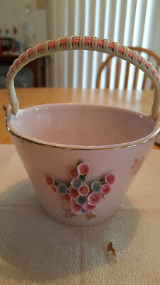 Pink Lefton Pink&blue Floral Applique Bucket, Vintage