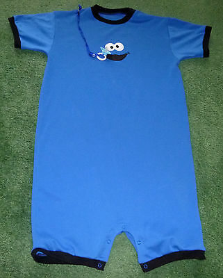"""Adult baby EMBROIDERED ROMPER SESAME STREET COOKIE MONSTER 38"""" CHEST"""